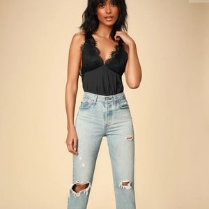 Free people Melrose black bodysuit lace backless